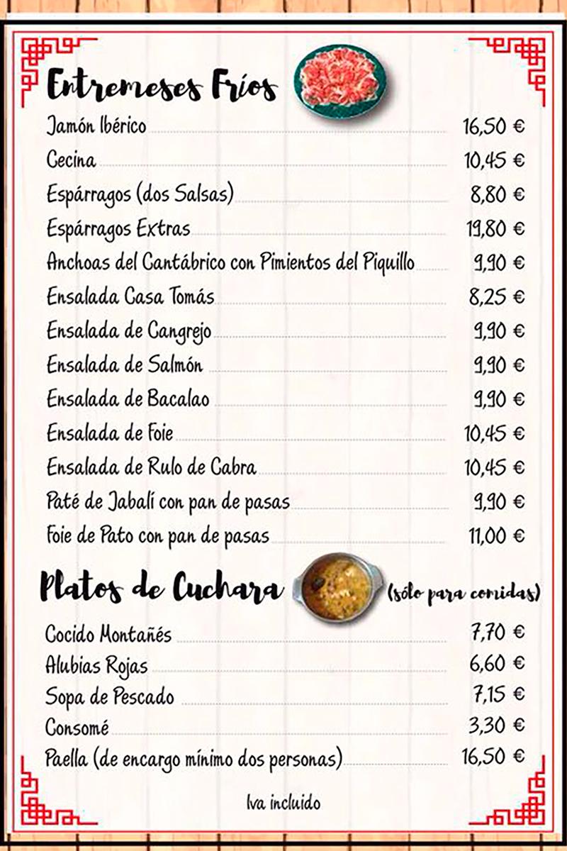 Casa tomas ogarrio menu